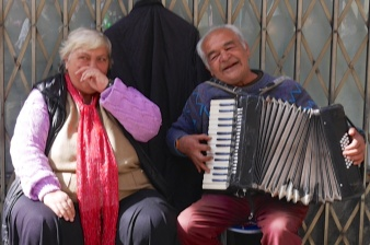 Músicos en el Rastro de Madrid